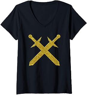 Femme épées croisées, d'or sabre symbole Pirate Vintage T-Shirt avec Col en V