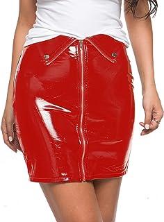 تنانير قصيرة لامعة مثيرة للنساء ذات مظهر مبلل تنورة جلدية قصيرة تنورة حمراء 218