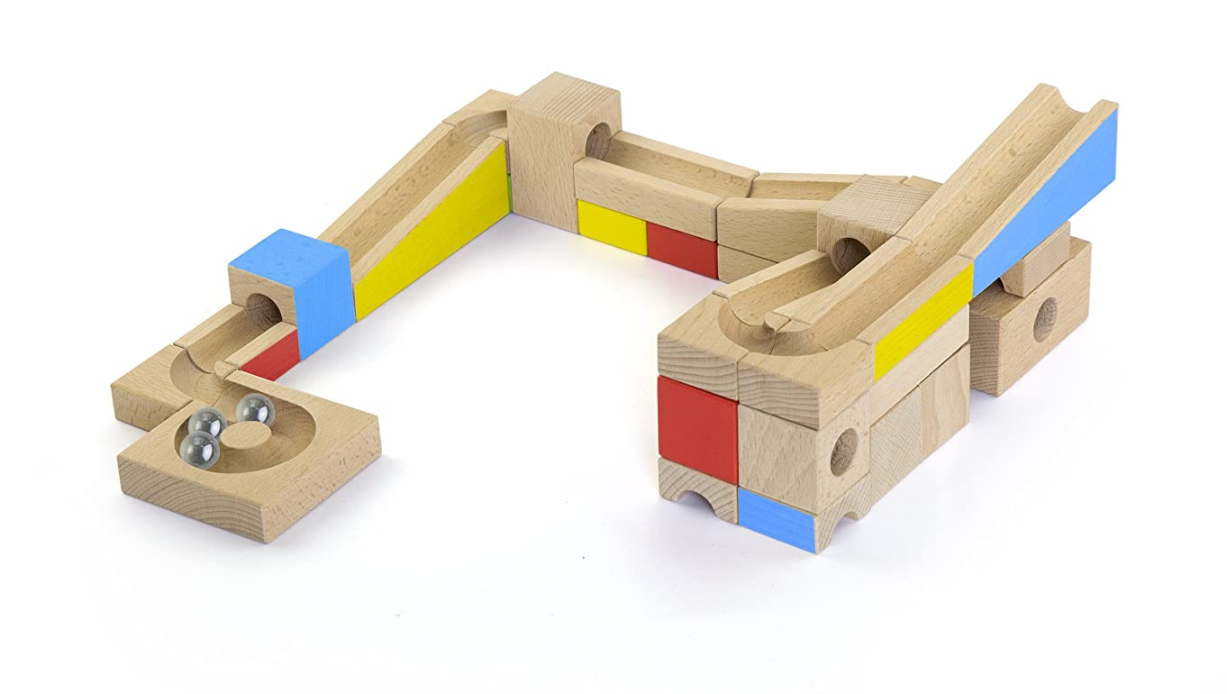 MMP Living Colorful Classics - Wooden Marble Run 40 Pc. Set