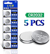 LiCB CR2032 Battery 3V Lithium 5PCS (CR 2032 / Batteries CR2032 / DL2032 / ECR2032/) for Computer motherboards,Remotes,LED lights,Glucometers,Toys,Car key,Scales.