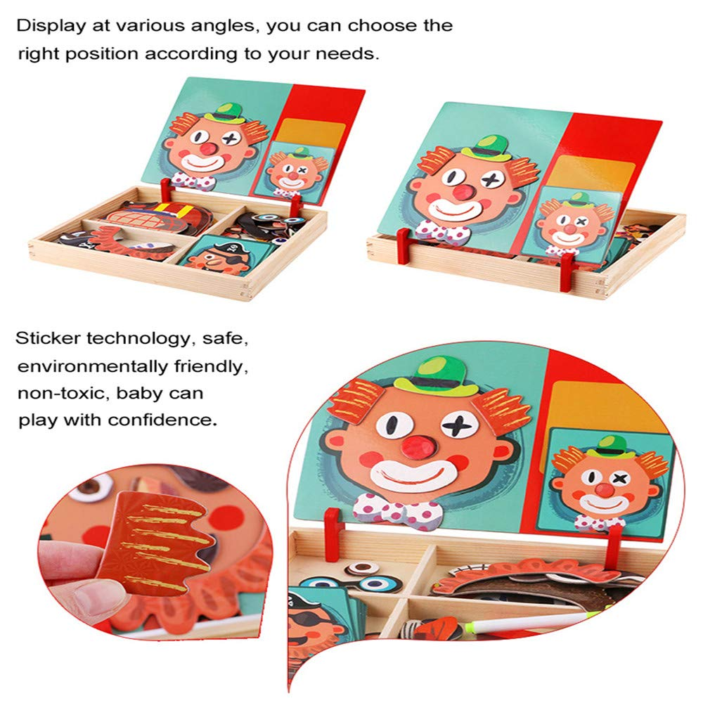Wooden Magnetic Jigsaw Puzzles Toy, Crazy Face Dress Up Game for Imagination Play,Educational Puzzle Games, Double Sided Drawing Easel for Kids