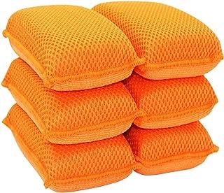 Miracle Microfiber Kitchen Sponge by Scrub-It (6 Pack) - Non-Scratch Heavy Duty Dishwashing Cleaning sponges- Machine Washable- (Orange)