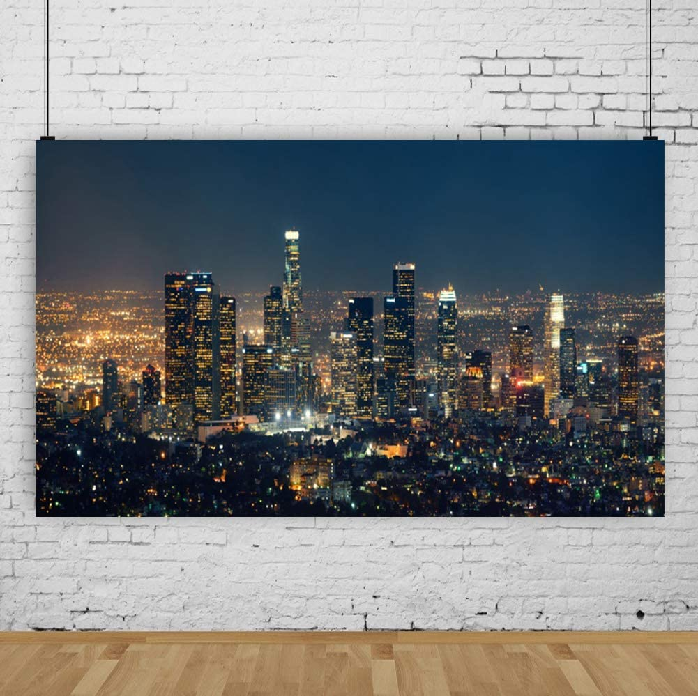 10x5ft Fantastic London Nightscape Backdrop Polyester Shiny Tower Bridge London Panorama Aerial View Cityscape Beautiful Skyline Skyscrapers Urban Scenic Landmark Background Landscape Wallpaper