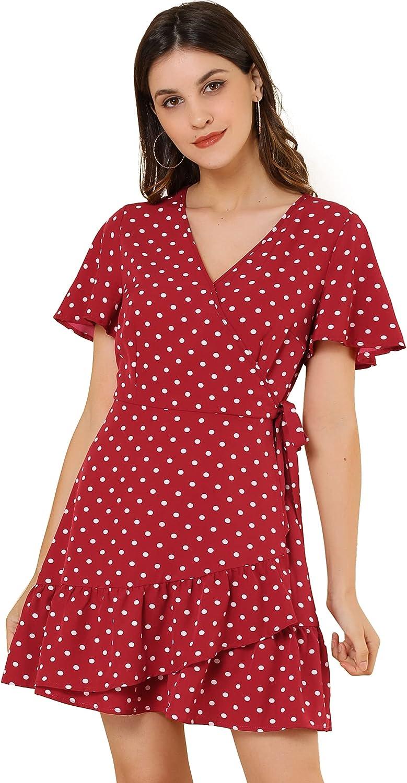 Allegra K Women's Wrap V Neck Ruffled Flutter Sleeves Belted Printed Flowy Dress