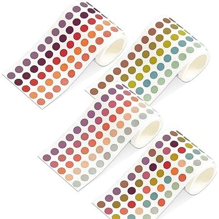 TANAKEY Washi Tape, Rubans adhésifs ronds autocollants colorés DOTS autocollants DIY Stickers Bandes Random Couleur (4 Rouleaux (5000 Points))