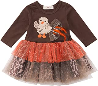 BOIZONTY Newborn Toddler Baby Girl Thanksgiving Dress Turkey Leopard Tulle Tutu Princess Costumes Dresses Outfit Clothes