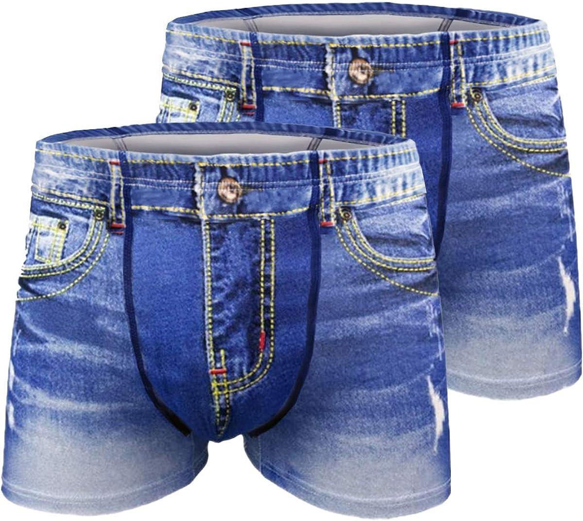 2pcs Mens sexy Underwear denim Cowboy Cotton funny Boxer Briefs Fake Jean