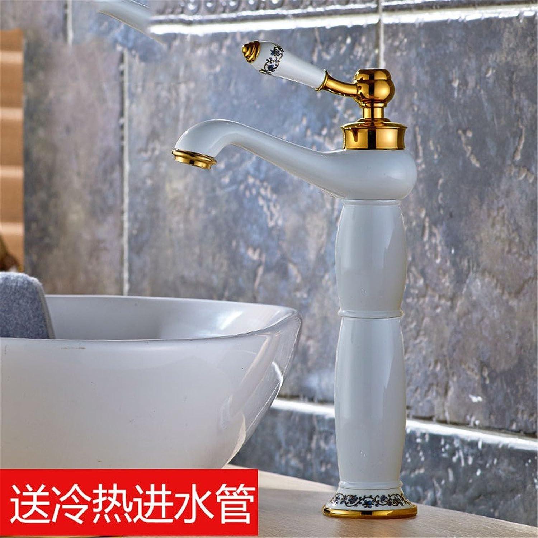 Fbict Copper gold Faucet hot and Cold European Bathroom Basin Faucet Antique Single Hole Retro washbasin Faucet, bluee and White Porcelain White Faucet for Kitchen Bathroom Faucet Bid Tap