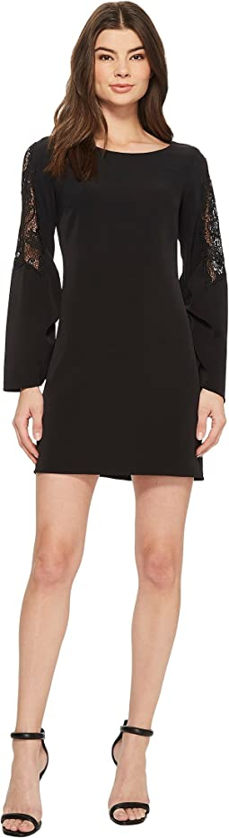 Laundry by Shelli Segal - Long Sleeve Crepe Dress with Lace Sleeve