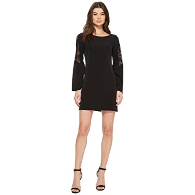 Laundry by Shelli Segal Long Sleeve Crepe Dress with Lace Sleeve (Black) Women