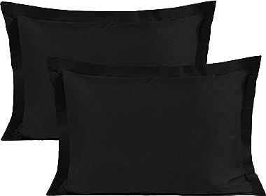 BEDSUM Microfiber Pillow Shams Set of 2, Ultra Soft and Wrinkle Resistant, Standard, Black