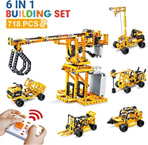 DAZHONG 6 in 1 Remote Control STEM Building Blocks Truck RC Car Kit Perfect Educational Gift for Kids Kids Toys Age 6-12 RC Construction Engineering Kit