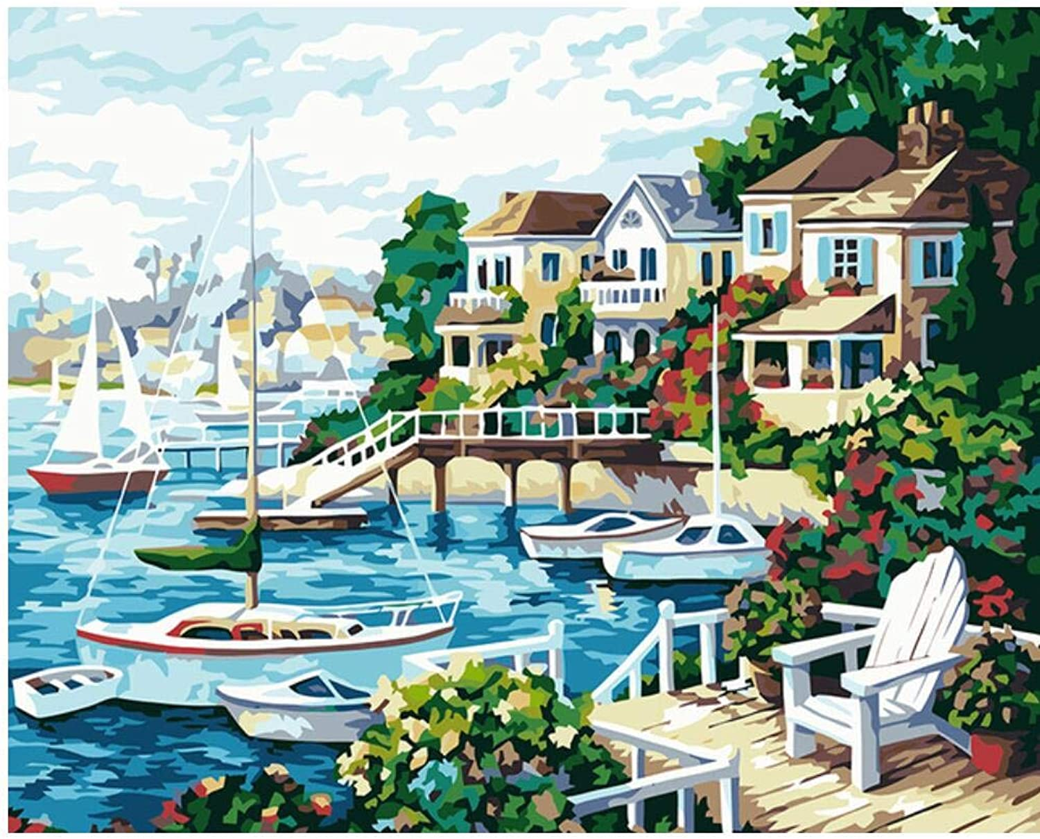 Superlucky Seascape Home Picture Painting Painting Painting by Numbers Home Decor DIY Canvas Oil Paintng for Living Room Wall Art 40x50cm Mit Rahmen B07JVMFF79 | Sehen Sie die Welt aus der Perspektive des Kindes  1d39b4