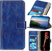 Mobile phone case Retro Crazy Horse Texture Horizontal Flip Leather Case with Holder & Card Slots & Wallet & Photo Frame for LG W30(Black) (Color : Blue)