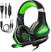 Samoleus Cascos Gaming PS4 PC Xbox One, Gaming Auriculares con Microfono, Cascos Gamer, Headset Cascos con Jack 3.5mm, Luz LED, Bass Surround, Cancelación de Ruido, Control de Volumen