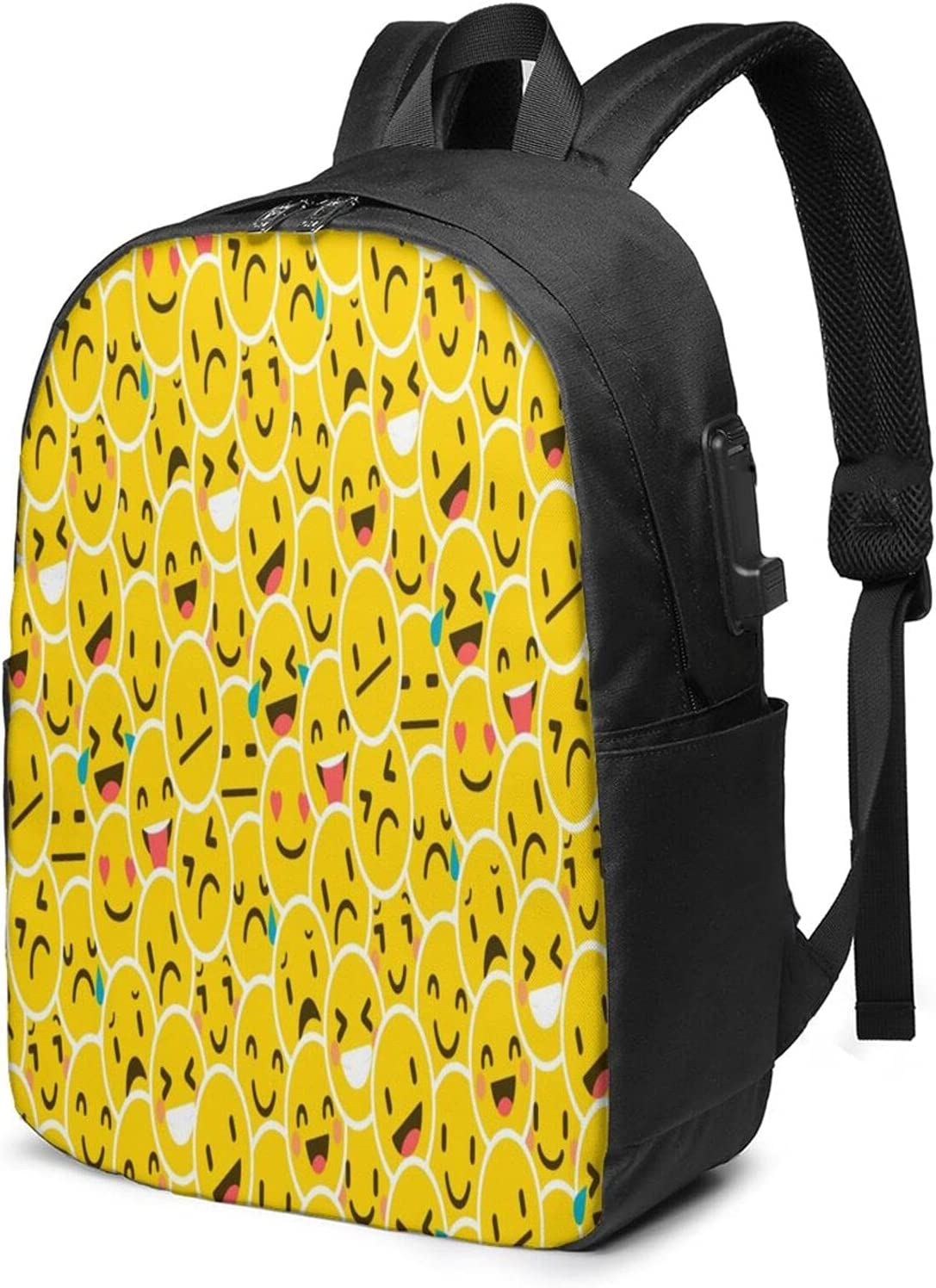 At the price of surprise Emoticons Easy-to-use Art Usb Backpack Business Durable Anti Lapt Slim Theft