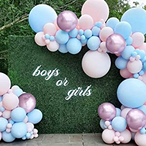 Gender Reveal Decorations, YANSION 99PCS Baby Shower Decors for Girl Boy Pink Blue Balloon Garland Arch Kit Rose Gold Balloons Oh Baby Birthday Party Wedding Engagement Decoration Supplies