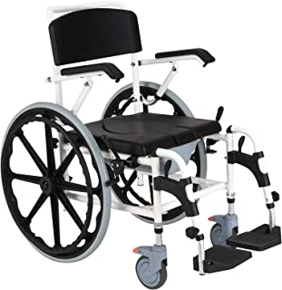 HOMCOM Rolling Shower Wheelchair Bath Toilet Commode Bariatric with 24