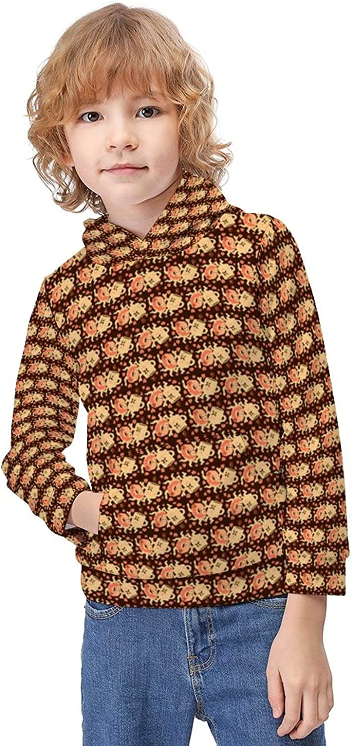 ODOKAY Boys Girls Casual Long Sleeve Pull-Over Hoodie Printed Autumn Pullover for Kids