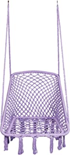 LAZZO Hammock Chair Hanging Knitted Mesh Cotton Rope Macrame Swing, 260 Pounds Capacity, 28