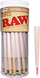 RAW Cones Organic King Size | 50 Pack | Pure Hemp Pre Rolled Rolling Paper with Tips & Packing Sticks Included