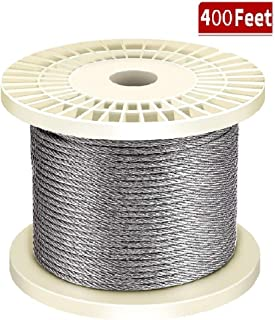 """(400FT) Auzzlife 1/8"""" Stainless Steel Aircraft Wire Rope for Deck Railing Kit, 7x7 T316 Marin Grade"""