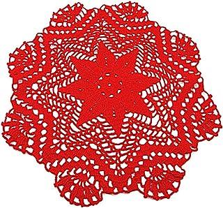 Centrino rotondo rosso all'uncinetto - Dimensione: ø 35 cm - Handmade - ITALY