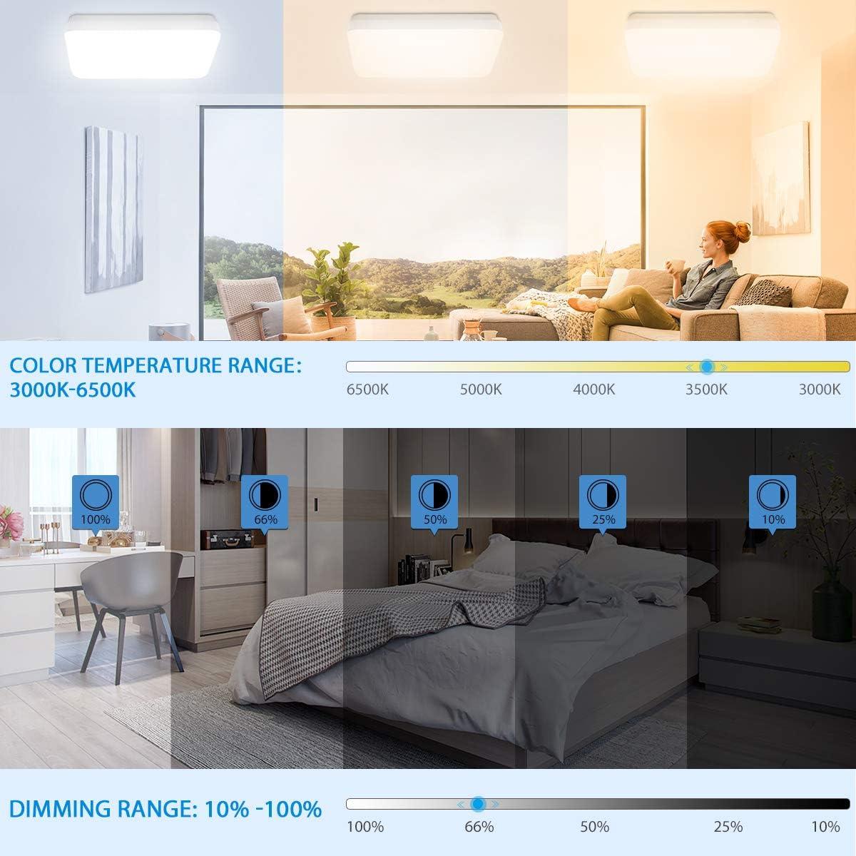 100LM//W IP54 LED Lampe als Badlampe 1800LM WIFI LED Deckenlampe Dimmbar Alexa und Google Kompatibel und APP//Sprachsteuerung Oeegoo LED Deckenleuchte Bluetooth 18W