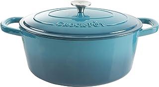 Crock Pot 109475.02 Artisan Oval Cast Iron Dutch Oven with Non-Stick Surface, 7 Quart, Teal Ombre