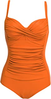 Womens One Piece Swimsuit Elegant Inspired Vintage Pin up Monokinis Tummy Control Swimwear Shirred Bathing Suits