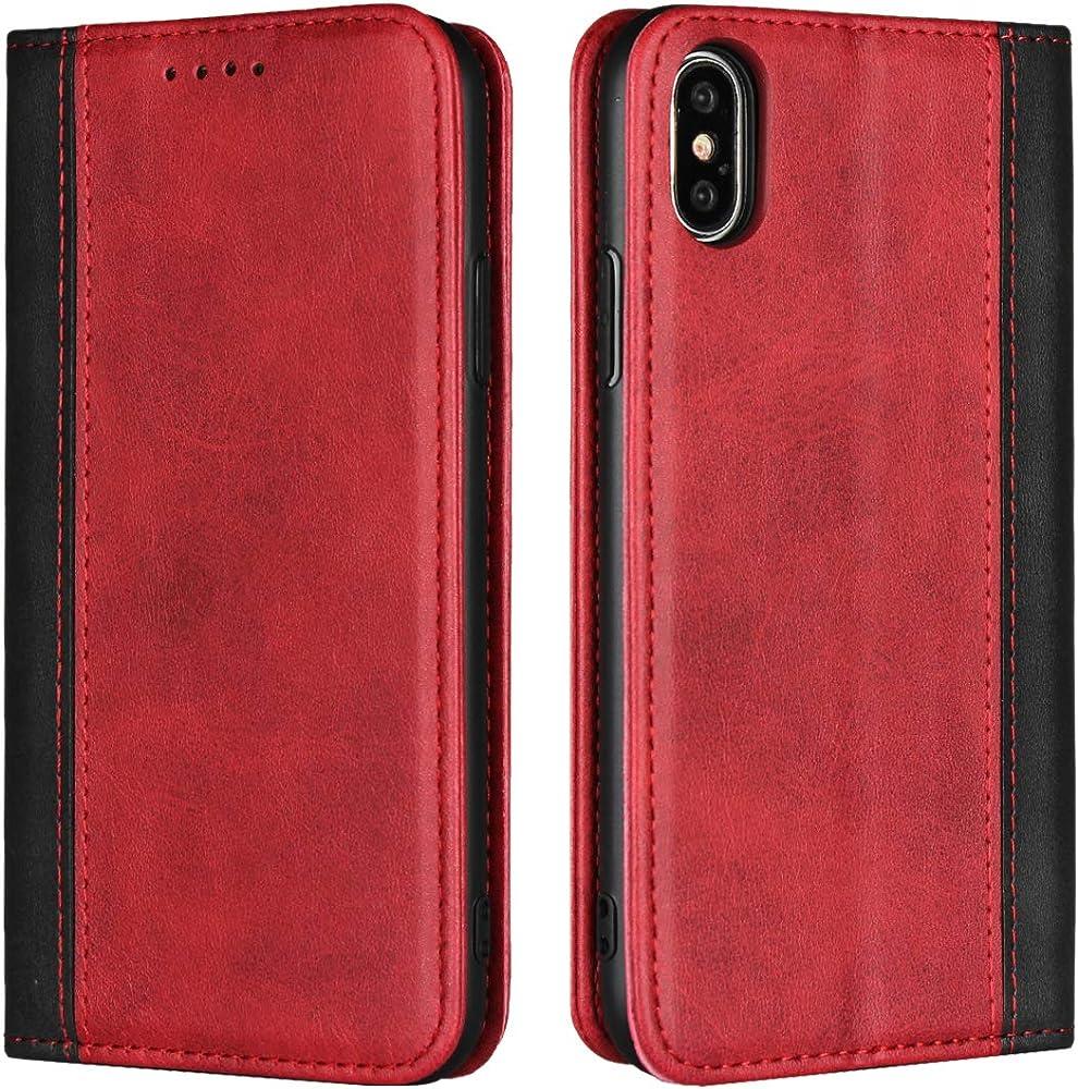 Copmob portafoglio porta carte di credito custodia per iphone xs in pelle Psxnw ix Red+Black