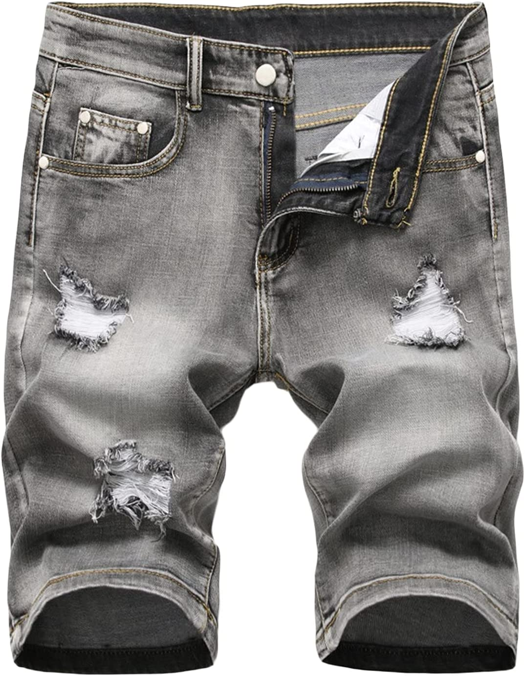 Men's Ripped Denim Shorts Washed Distressed Slim Jean Short Five Pockets Holes Retro Casual Knee Length Jeans Short (Grey,28)