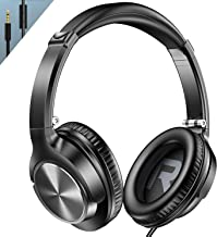 Vogek Over Ear Headphones with Mic, Lightweight Portable Foldable Stereo Bass Wired Headphones with 1.5M Tangel Free Cord and Microphone for Cellphone Tablet Laptop Computer, Black