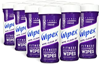 Wipex Natural Gym & Fitness Equipment Wipes for Personal Use, 75 Count - Great for Yoga, Pilates & Dance Studios, Home Gym, Peloton Bike Wipes, Spas, Salons (12 Canisters, Natural Lavender)