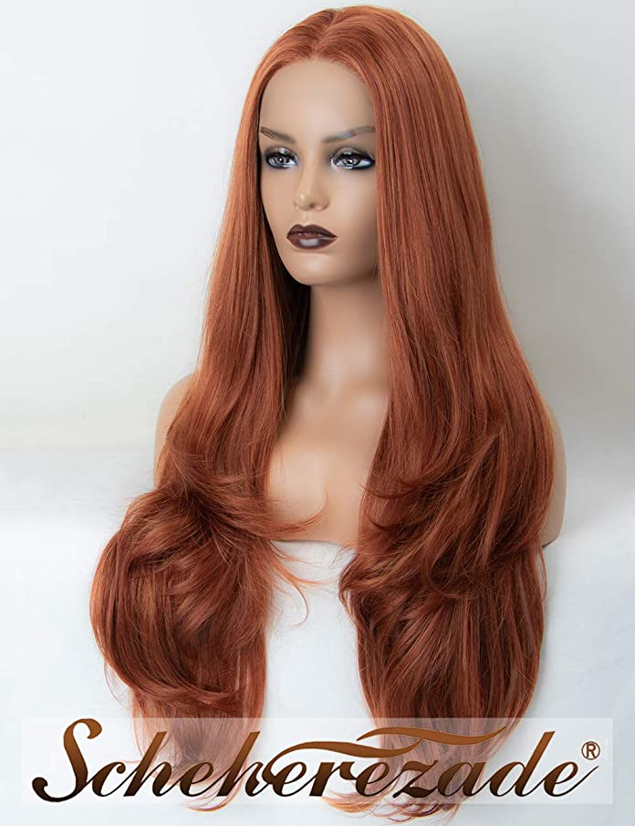 Natural Wavy Copper Red Lace Front Wigs for Women 24 Inches Scheherezade Long Auburn Orange Synthetic Wigs of Lace Glueless Heat Resistant