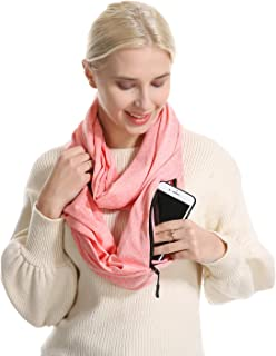 USAstyle Infinity Scarf With Zipper Pocket - Convertible Soft Stretchy Travel Scarves