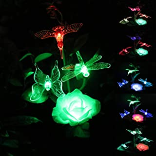 WINBOOM Solar Garden Stake Lights Outdoor with Rose Flower Hummingbird Butterfly Dragonfly,Multi-Color Changing Solar Powered Decorative Landscape Lighting for Outdoor Path, Yard, Lawn, Patio