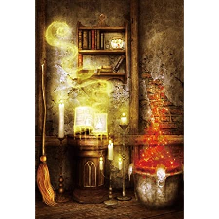 Laeacco 5x7ft Vinyl Thin Photography Backgrounds Night Indoor Fairy Tale Magic Book Candlelight Scene Halloween Children Adults Photo Backdrop,1.5x2.2m Studio Props