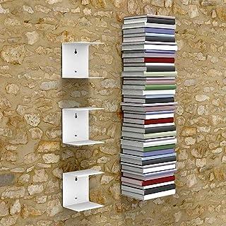 A10SHOP Zeta Metal Shelves Invisible Wall Mount Bookshelves (White) - Set of 3