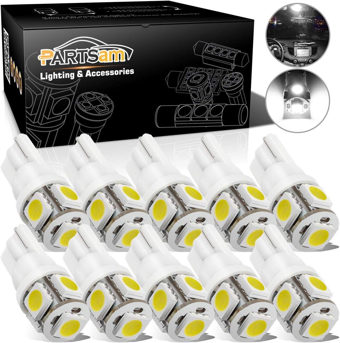 10Pcs White T10 194 W5W 501 7020 SMD LED Interior Dome Map License Light Bulb