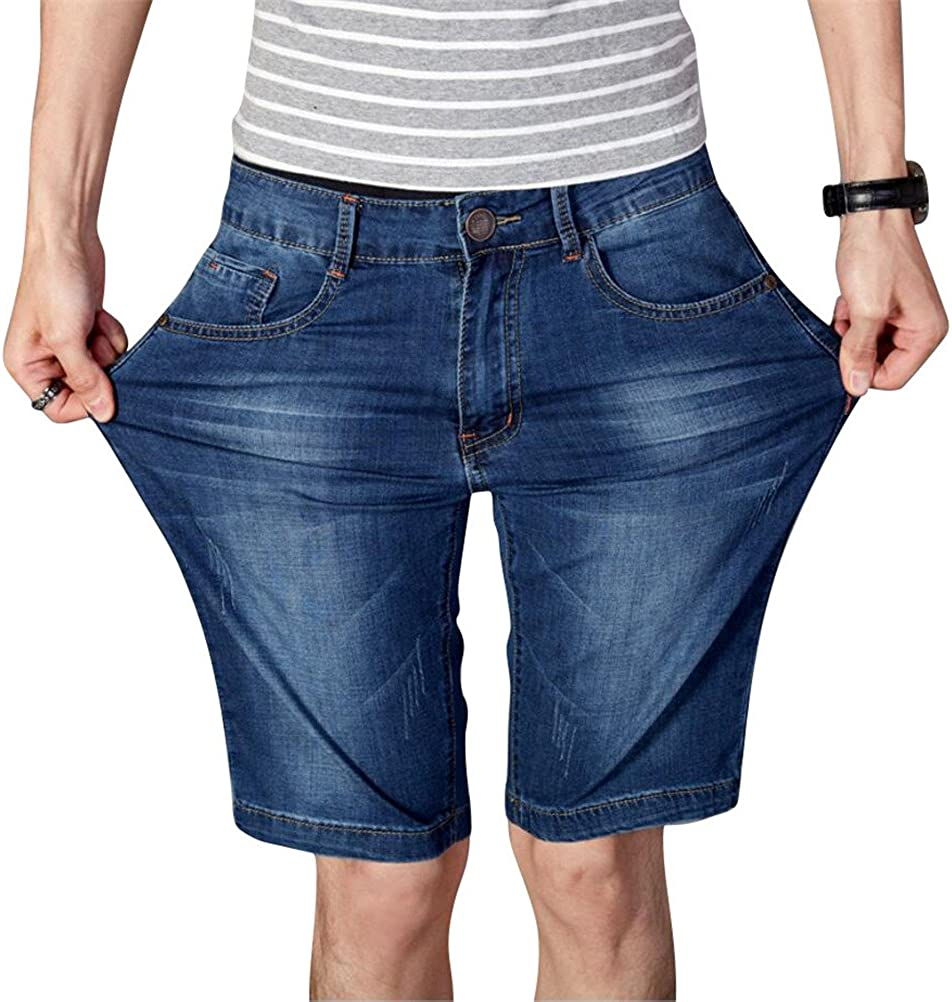 Denim Shorts for Men Plus Size,Casual Classic Summer Light Weight Loose Fit Straight Fashion Stretchy Jean Shorts