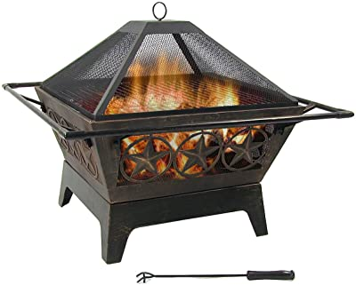 Sunnydaze Northern Galaxy Heavy-Duty Fire Pit - 32 Inch Steel Large Square Wood Burning Patio or Backyard Firepit - Weighs 30 Pounds - Cooking Grill Grate, Spark Screen, and Fireplace Poker Included
