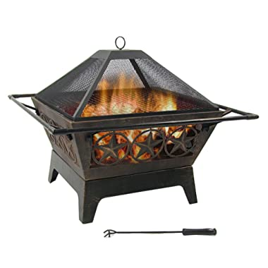 Sunnydaze Northern Galaxy Outdoor Fire Pit - 32 Inch Large Square Wood Burning Patio & Backyard Firepit for Outside with Cooking BBQ Grill Grate, Spark Screen, and Fireplace Poker