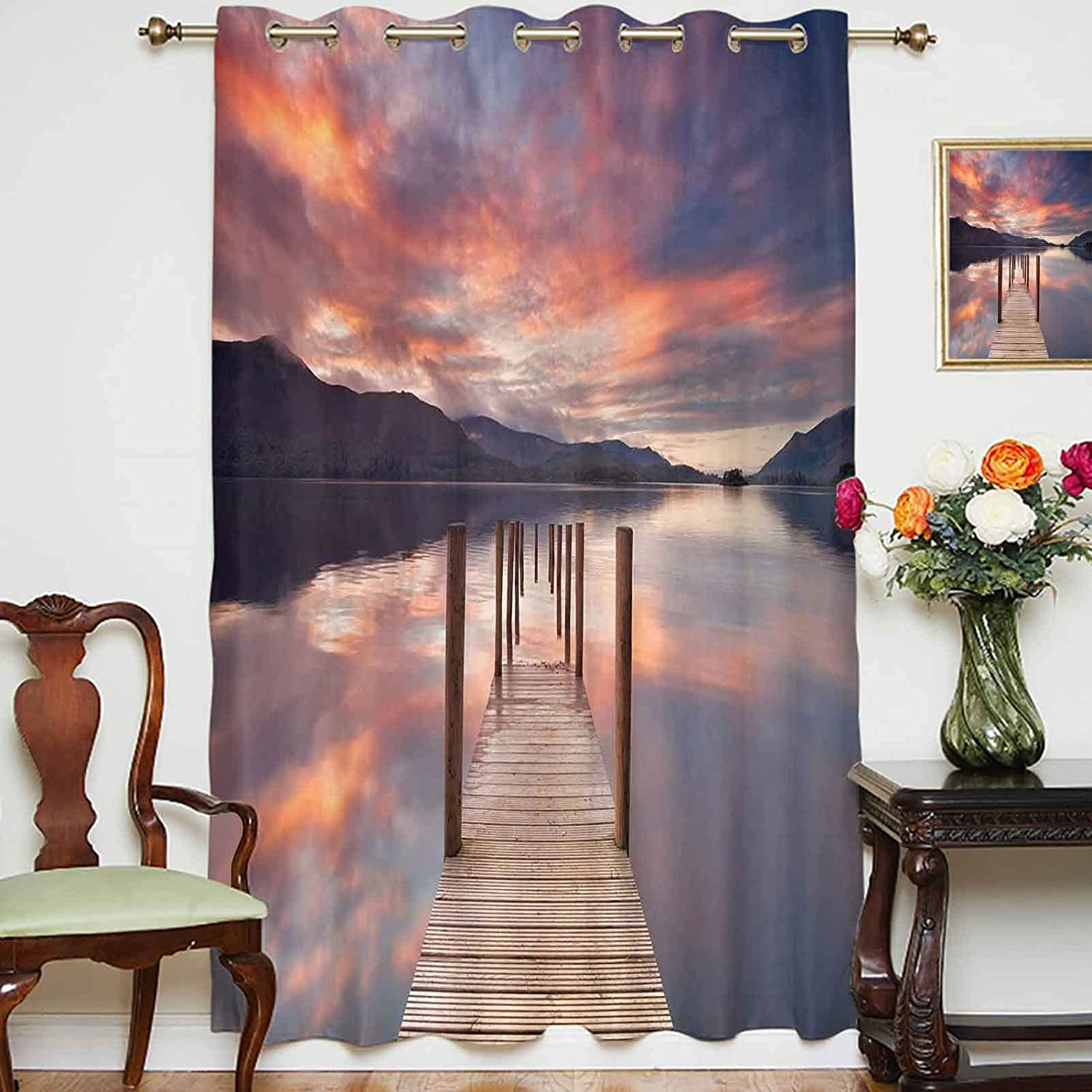 Blackout Curtains Panels A Selling and selling Flooded Jetty Derwent Limited time trial price D Lake Water In