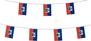 Kind Girl Haiti Flag Haitian Flag,100Feet/76Pcs National Country World Pennant Flags Banner,Party Decorations Supplies For Olympics,Indoor and outdoor flags,Sports Events,International Festival