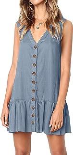 Womens Polka Dot V Neck Button Down Ruffles Loose Mini Short T-Shirt Dress