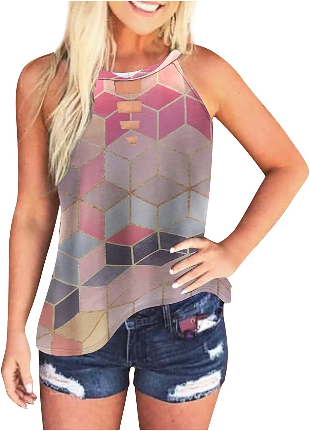 Women's Strap Sleeveless Tank Tops Tie Dye Plaid Print Vests Summer Sexy Off Shoulder T-Shirts Halter Blouse for Women