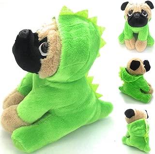 Joy Amigo Stuffed Pug Dog Puppy Soft Cuddly Animal Toy in Costumes Dressed As a Dinosaur - Super Cute Quality Teddy Plush 10 Inch