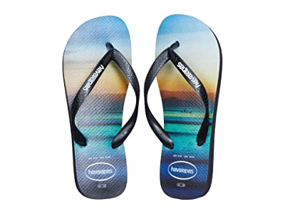 Havaianas Hype Flip Flops (Black/White/Black) Men