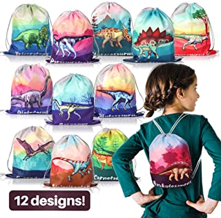 12 Pack Dinosaur Party Supplies Favor Drawstring Bags for Kids' Birthday, Boys and Girls Dino Backpack Bag as Loot and Goo...